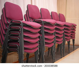 stack of red chairs