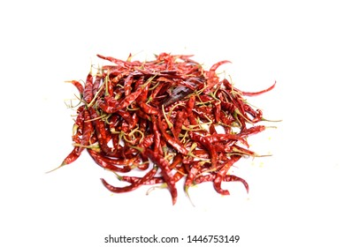 stack of red chili peppers isolated on white background
