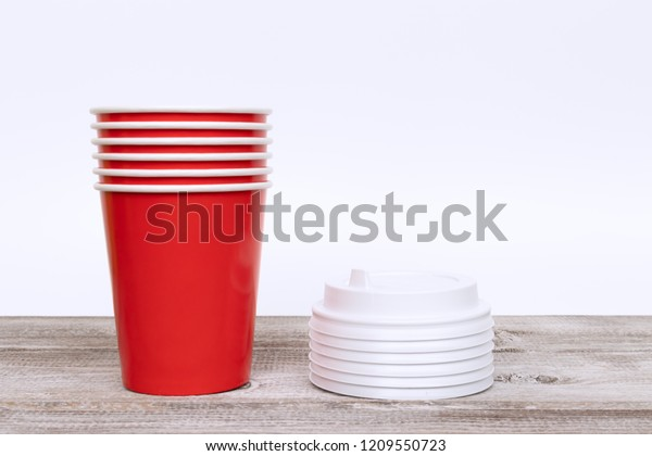 Stack Red Disposable Paper Cups Covers Stock Photo (Edit Now