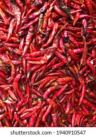 Stack of red dry chili it the one most flavoring spicy herb of ingredients Thai food.