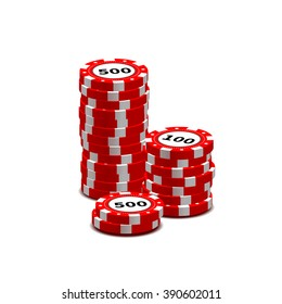 Stack of red gambling chips isolated on white