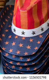 Stack of Red, White, Blue and Stars Cowboy, Cowgirl style hat.