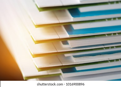 Stack of report paper documents for business desk, Business papers for Annual Reports files, Document is written,presented. Business offices concept, soft focus