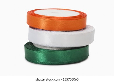 Stack of ribbons representing Indian flag colors