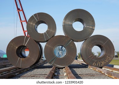 Stack of rolls of iron sheet in the steel manufacturing industry
