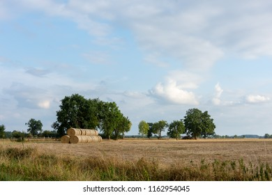 Stack of round bales of straw on a stubble field in the Wesermarsch