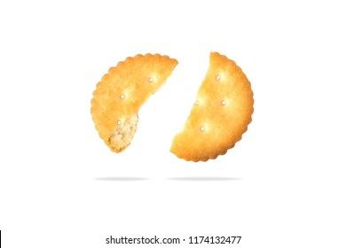 Stack of round cracker cookies isolated on white background.