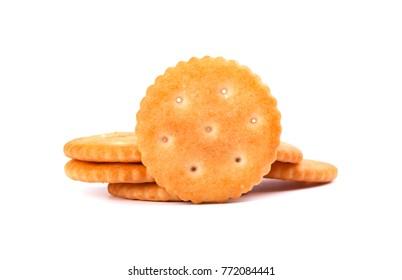 Stack round cracker isolated on white background. Dry cracker cookies isolated. Saltines isolated.