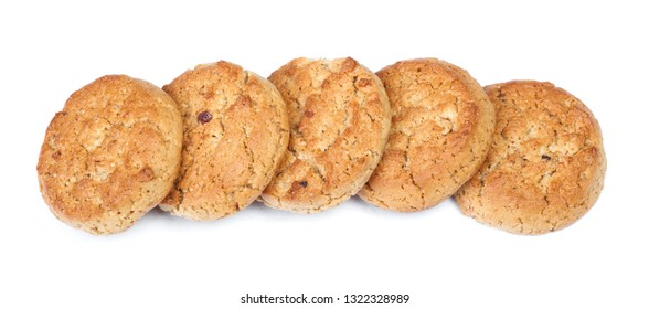 Stack of round oatmeal cookies isolated on white background