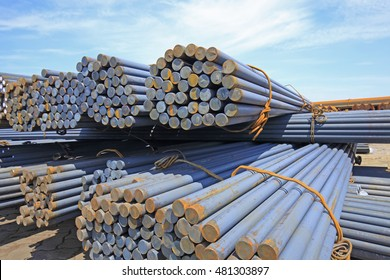 Stack of round steel bar