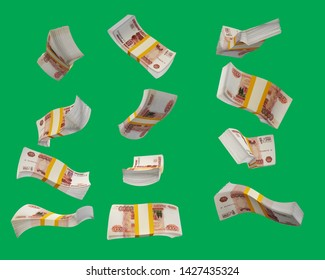 Stack of the Russian ruble. Bundles of Russian money in different angles. Bundles of Russian money in motion. Isolated 3d render 5000 rubles
