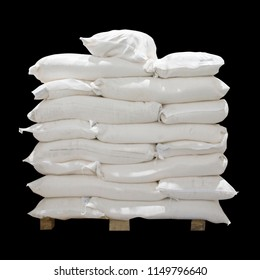 Stack of sacks, bags with bulk food. White sacs stack isolated on black for your design.