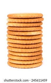 Stack  of salty crackers on a white background