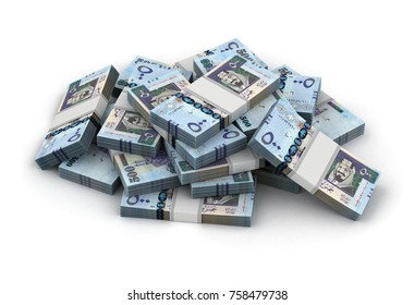 Stack of Saudi Arabian Riyals 3d rendering