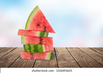 Stack of seedless watermelon slices