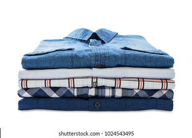 Stack of shirts isolated on white background