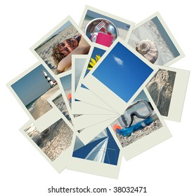 Stack of shots with vacation travel photos