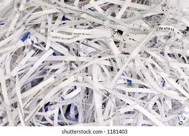 Stack of shreadded paper