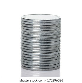 A stack of silver coins, isolated on white