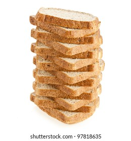 stack of sliced bread on a white background sandwich