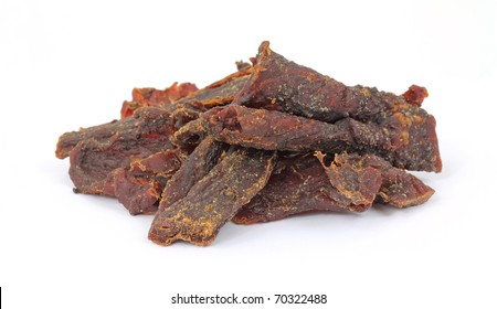 A stack of smoke flavored beef jerky.