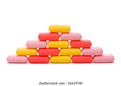 Stack of soap isolated on the white