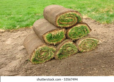A Stack of Sod Rolls on the Dirt
