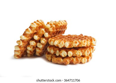 Stack of soft round waffles isolated on white background with shadow