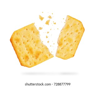 stack of square crackers isolated on white background. Dry cracker cookies isolated