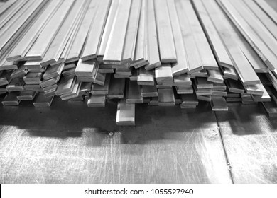 stack of stainless steel flat bar for background used