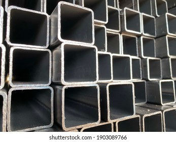 stack of square steel pipes for construction supplies.thailand