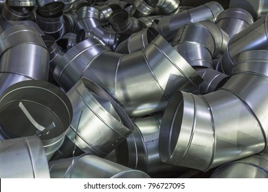 Stack of steel or metal pipes or round tubes as industrial background