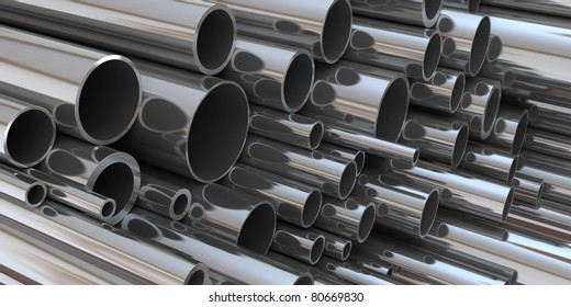 stack of steel tubing 3d rendering. good