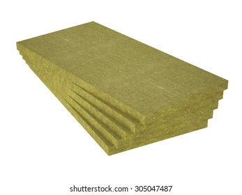 A stack of stone wool insulation