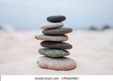 Stack of stones  against seascape