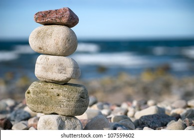 Stack of stones on sea shore, close up
