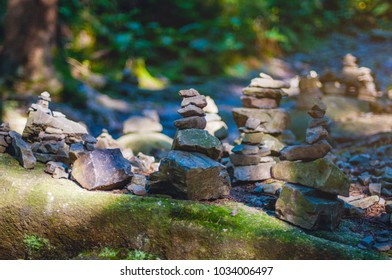 Stack stones tower in the nature in National Park Harz