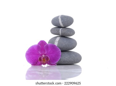 Stack of striped stones and beautiful red orchid