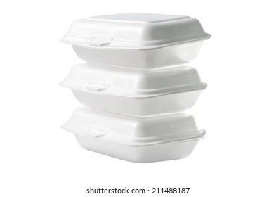 Stack of Styrofoam takeaway boxes on white background : Clipping path included