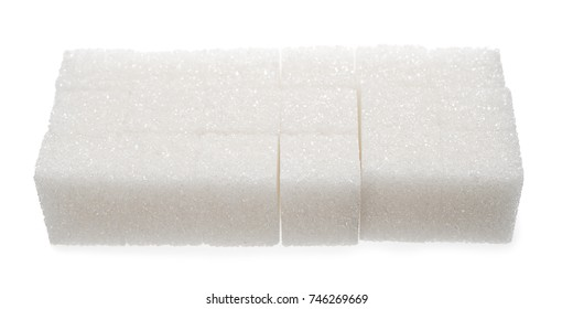 Stack of sugar cubes isolated on white background.