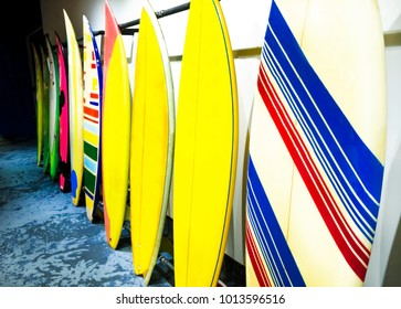Stack of surfboards - colored