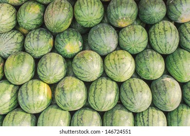 Stack of sweet green watermelons