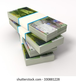 Stack of Swiss Franc bills. Isolated on white.