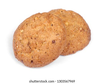 Stack of tasty oatmeal cookies isolated on white