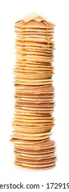Stack of tasty pancakes with honey and butter on white background