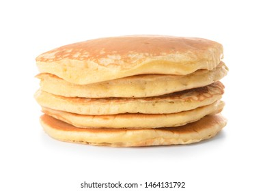 Stack of tasty pancakes on white background