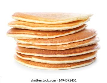 Stack of tasty pancakes on white background