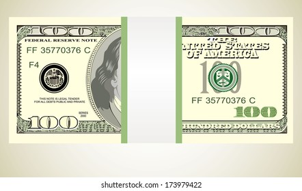 Stack of ten thousand dollar bills.