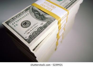 Stack of Ten Thousand Dollar Piles of One Hundred Dollar Bills