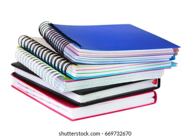 Stack of text books isolated on white, school office supply,education concept symbol.